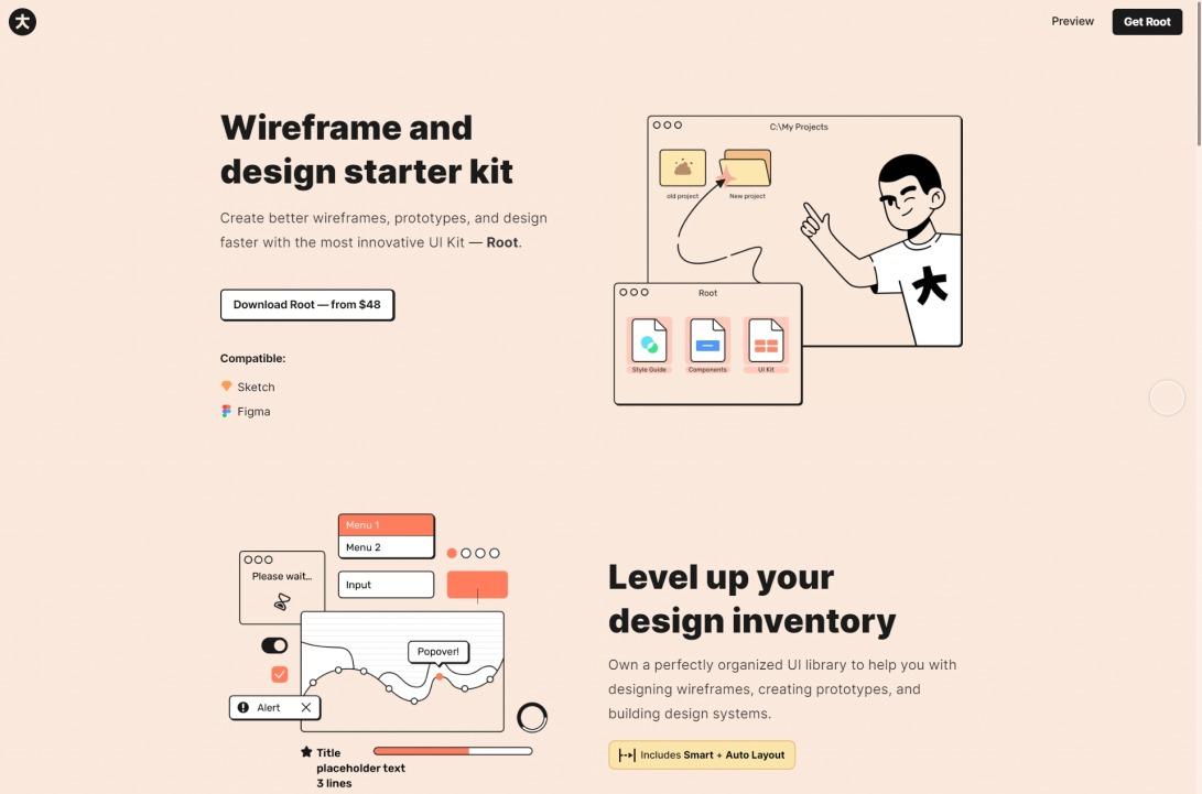 Root - Website Wireframe and Design Starter Kit