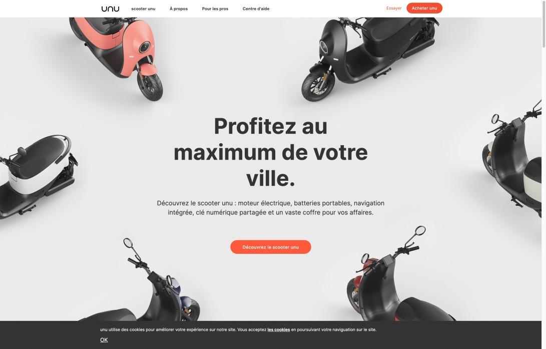 Acheter le scooter électrique unu en ligne | Scooter unu France