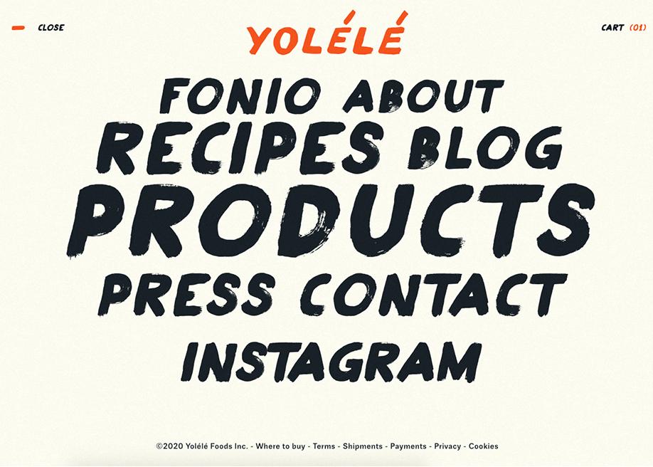 Typographic overlay menu - Yolele