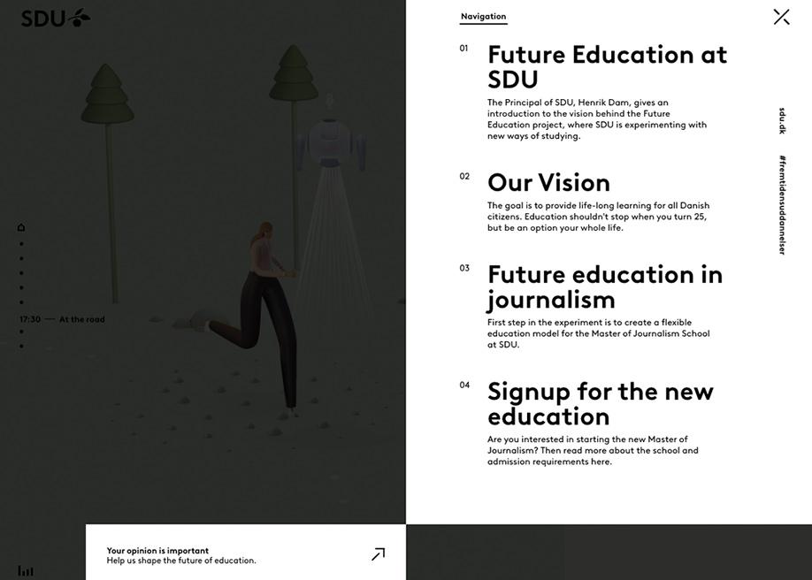 Side overlay menu - SDU future education