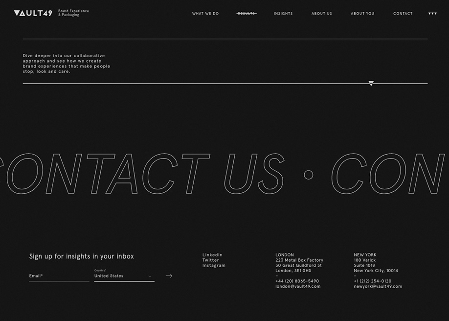 Footer design agency - Vault49