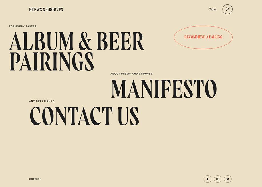 Overlay menu - Brews & Grooves