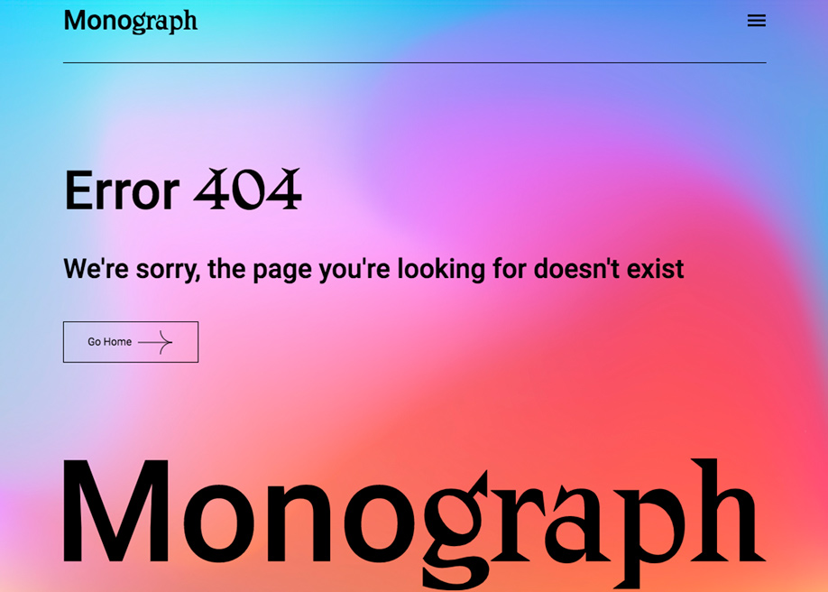 Monograph - 404 error page