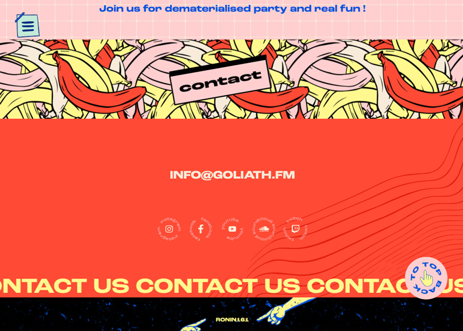 Contact page - Goliath Entertainment