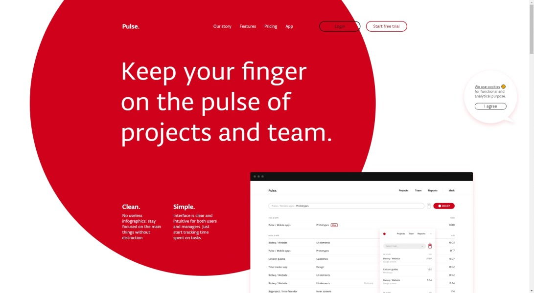 Pulse.red — track your project's time.