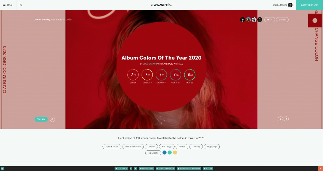 Album Colors Of The Year 2020 - Awwwards SOTD
