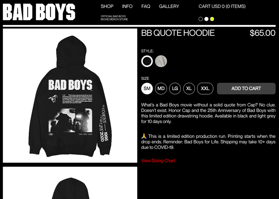 The Official Bad Boys Movie Merch Store