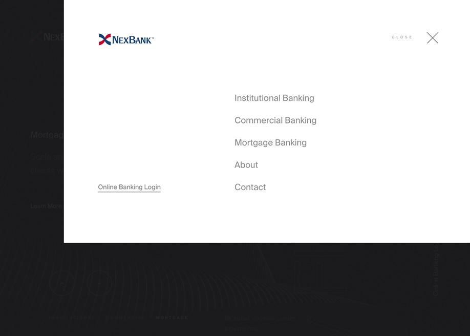 NexBank - Overlay menu