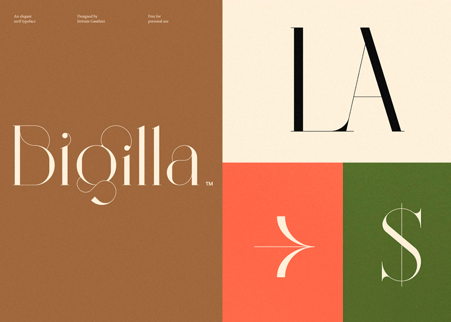 Bigilla display serif typeface designed by Jérémie Gauthier