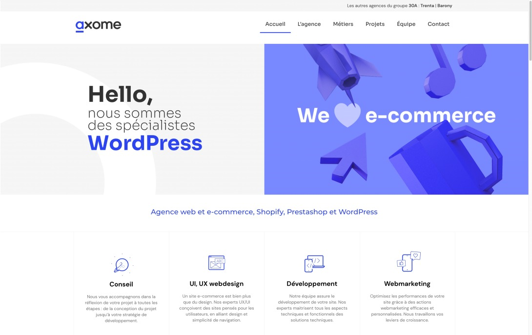 Axome : Agence web et e-commerce, Wordpress, Prestashop et Shopify