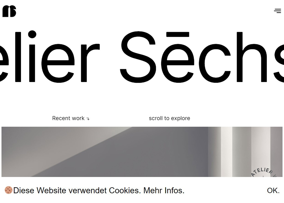 Sechs Atelier - Cookie banner at the bottom