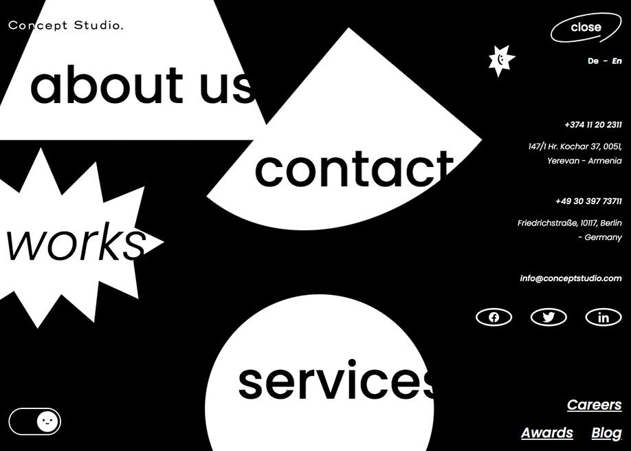 Concept Studio - Menu with cursor interaction