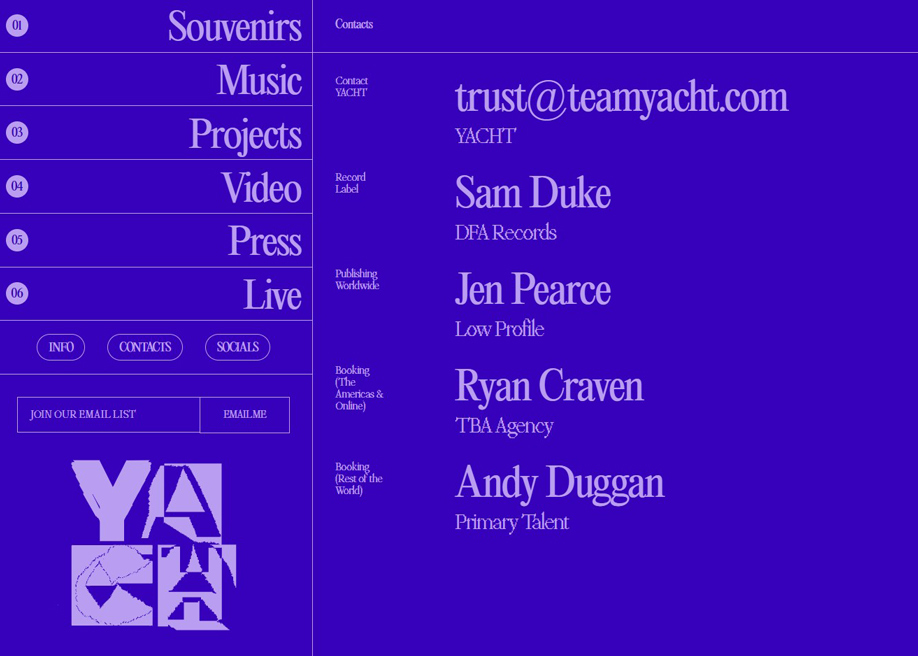 Team Yacht - contact page
