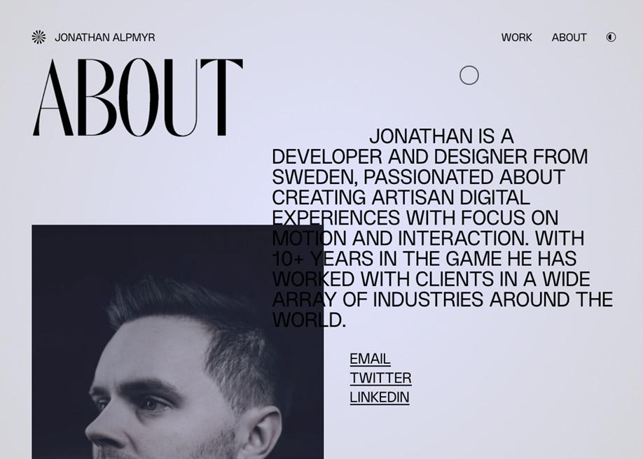 Jonathan Alpmyr portfolio - About page