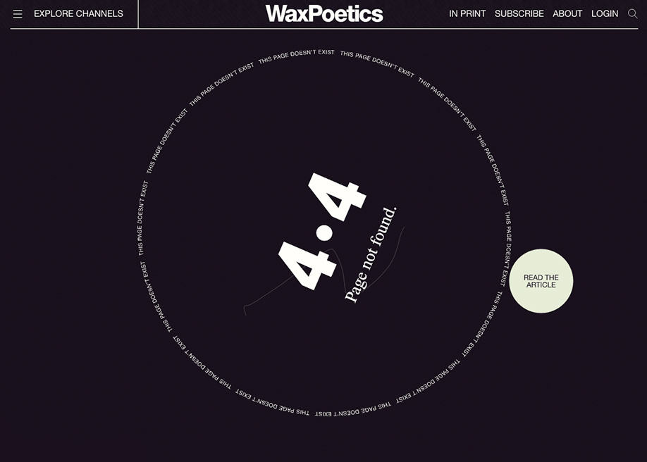 Wax Poetics - 404 error page