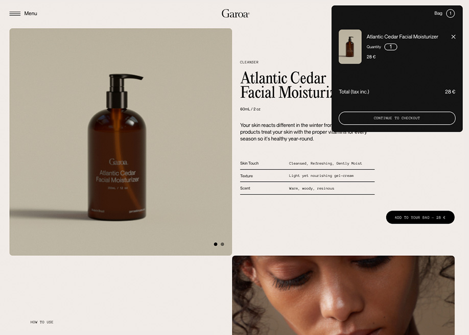 Garoa Skincare - Shopping cart
