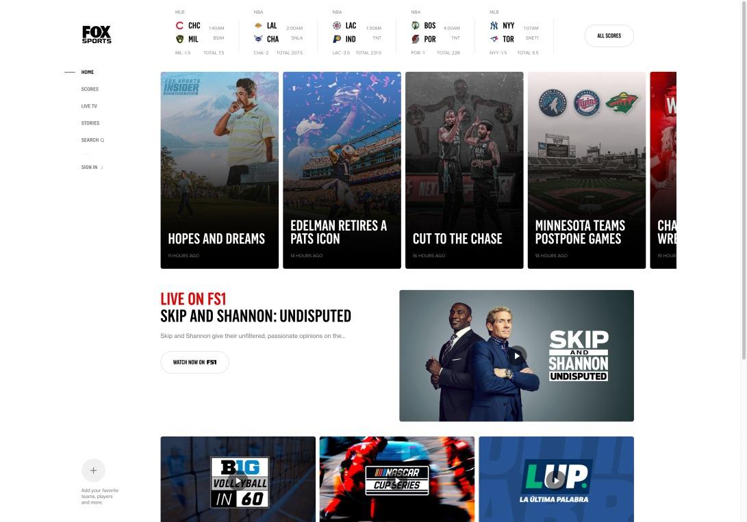FOX Sports - Sports News, Scores, Schedules, & Videos | FOX Sports