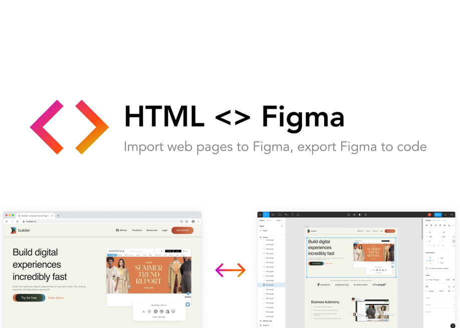 HTML<>Figma - Plugin for convert Figma designs to HTML, CSS, React Vue, and more