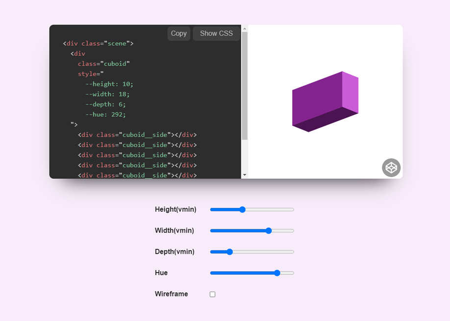 CSS Cuboid Generator made with React and Prism by Jhey