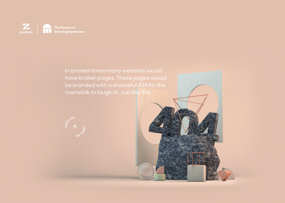 Museum of annoying experiences - 404 error page