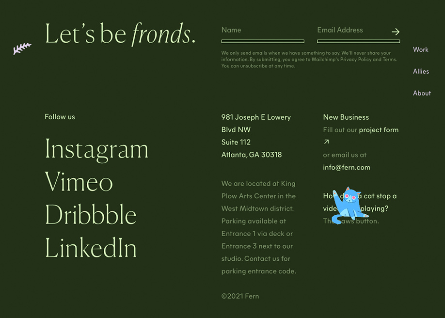 Fern - Contact and social share