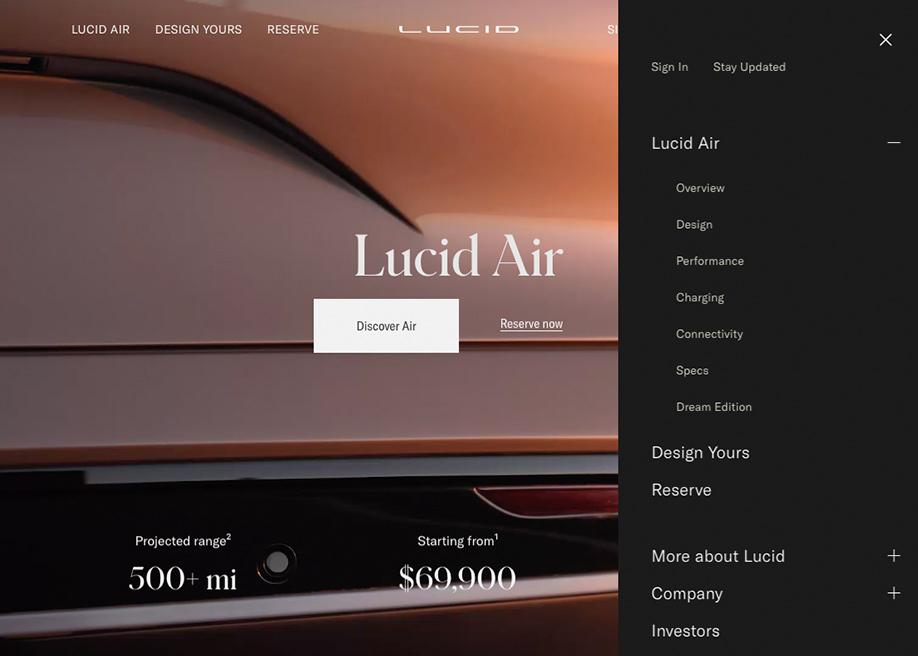 Lucid Motors -  Vertical menu disclosure