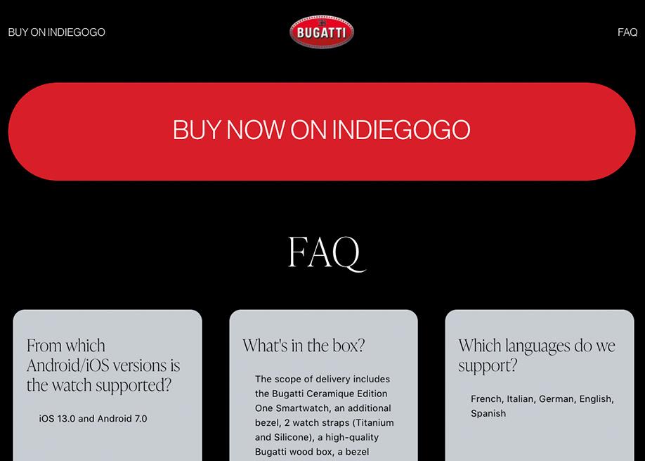Bugatti Smartwatches - Hero Buy CTA Button