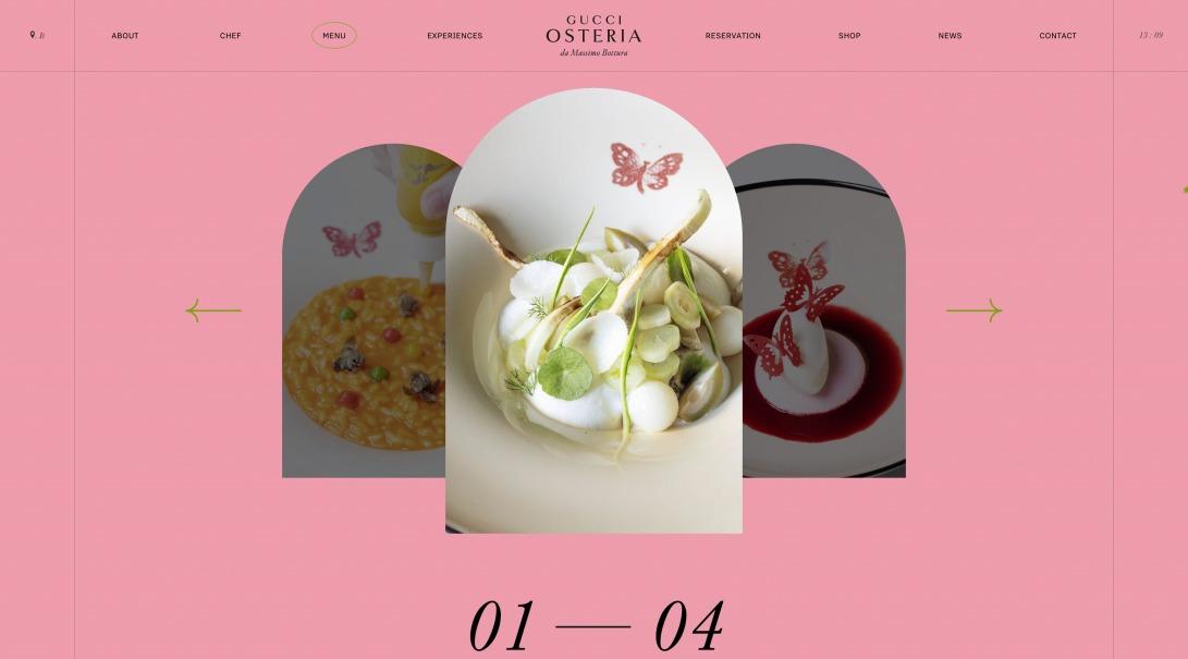 À la Carte Menu — Gucci Osteria Florence