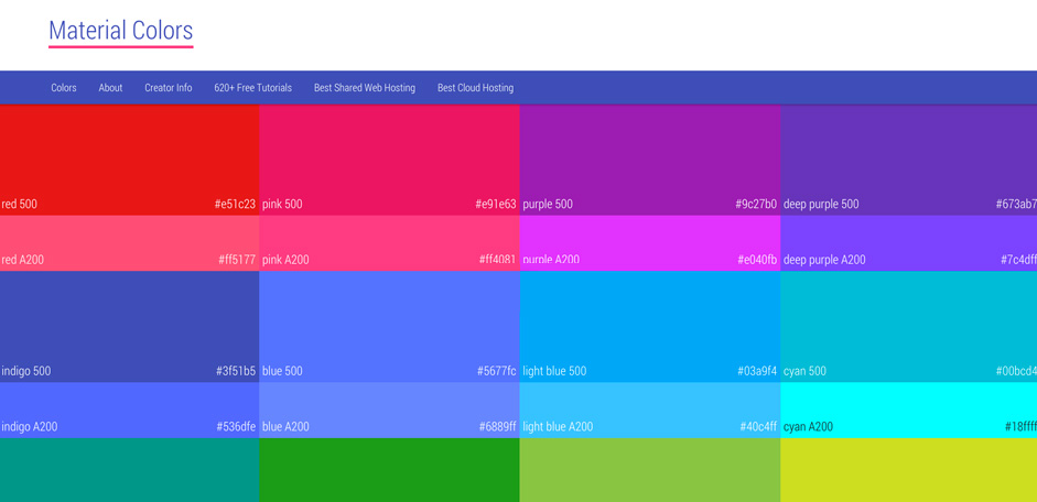 Trendy Web Color Palettes And Material Design Color Schemes Tools