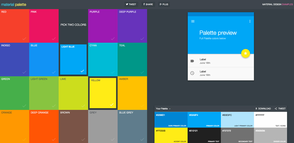 Trendy Web Color Palettes And Material Design Schemes Tools