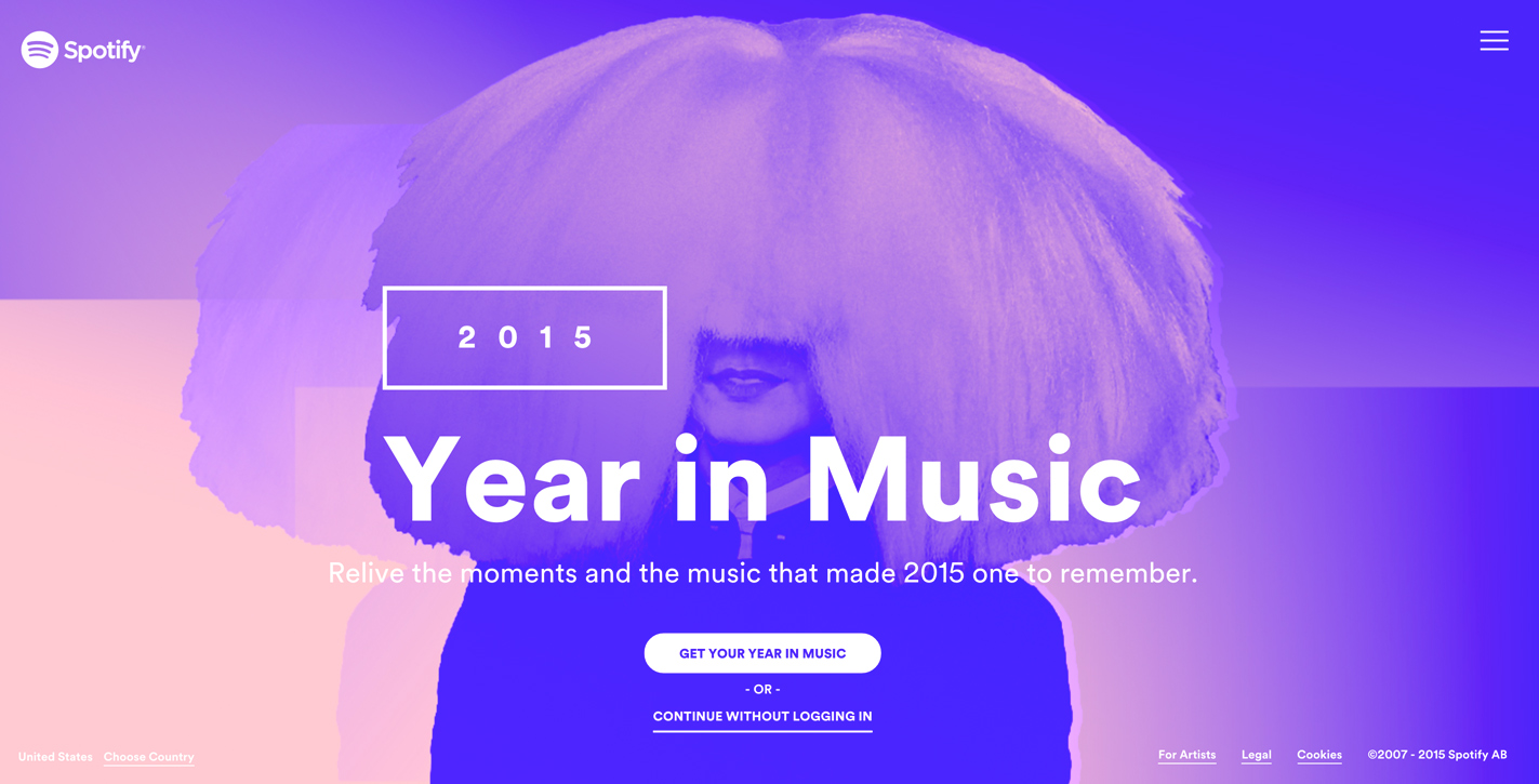 Spotify Year on music gradients 2015