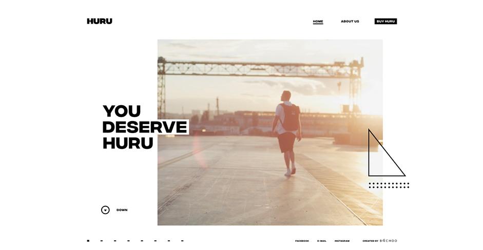 Huru homepage man wearing backpack walking towards a sunset