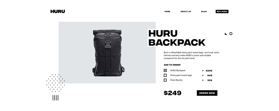 product page showing a backpack with price and specifications
