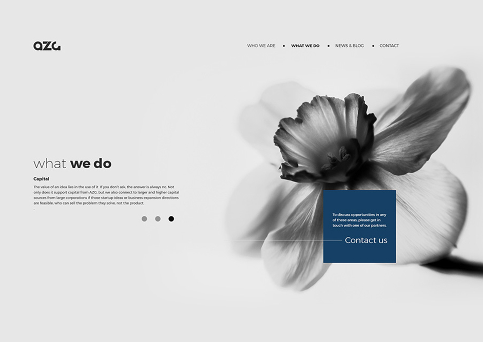 image of a web page by Đom Đóm with a white flower on a blue background