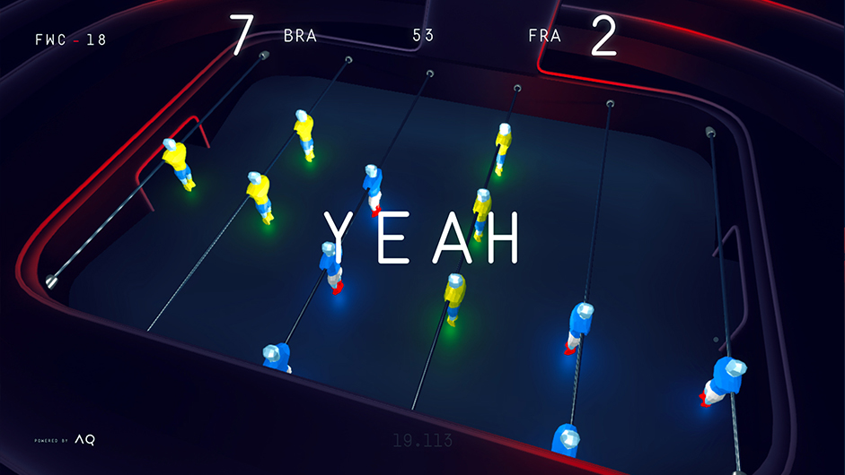 image showing the foosball table with neon glowing players