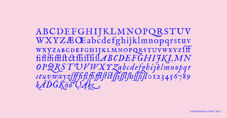 The alphabet in Fell typography