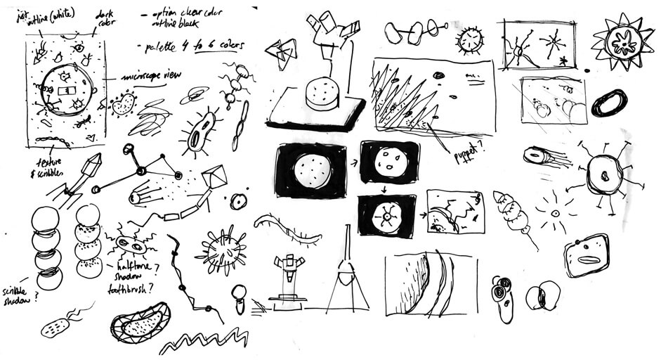 Sketches of microbes and microscopes