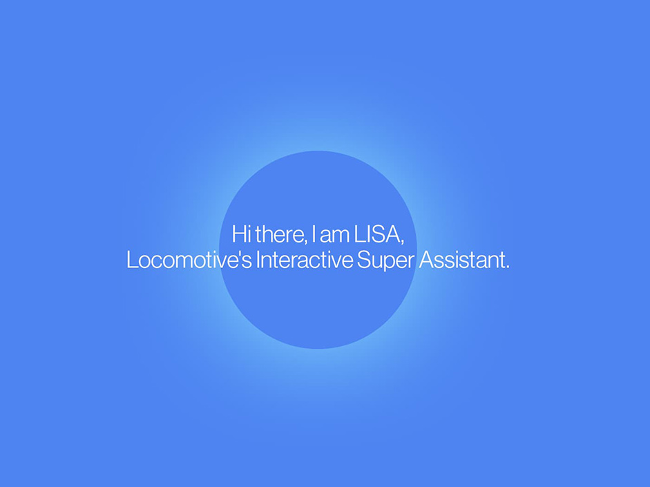 Blue square with text on top saying Hi there I am Lisa, locomotive's Interactive Super Assistant