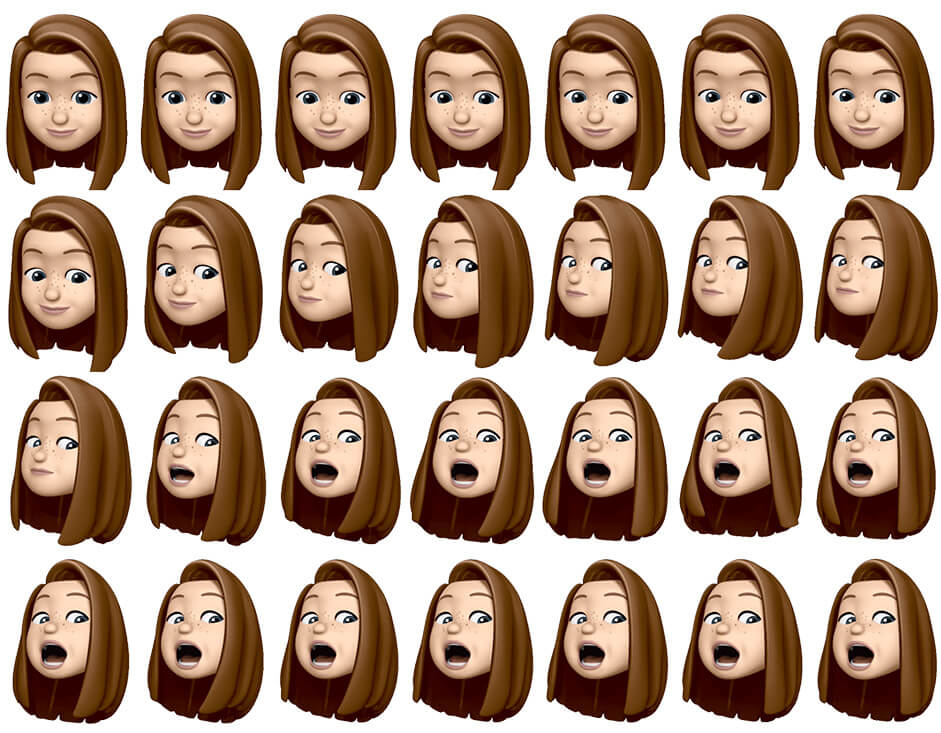 rows of emojis of lisa's face