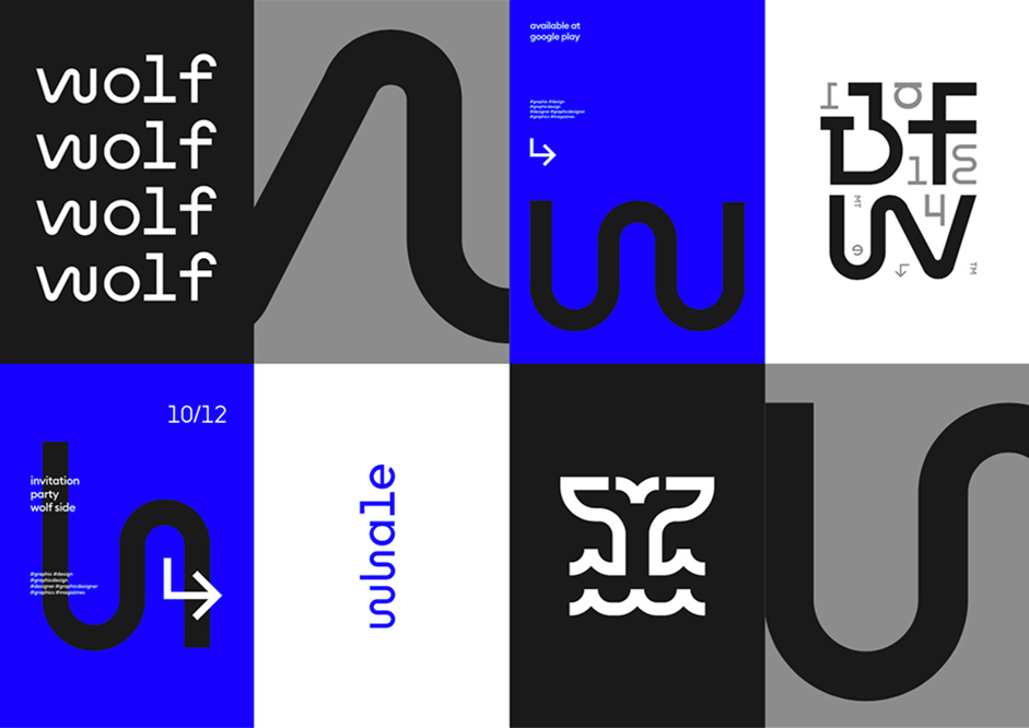 Blue, black, white and grey squares containing the Wolf&Whale branding