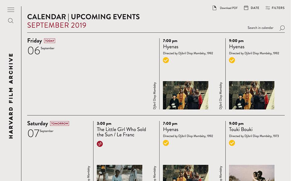 Film archive calendar