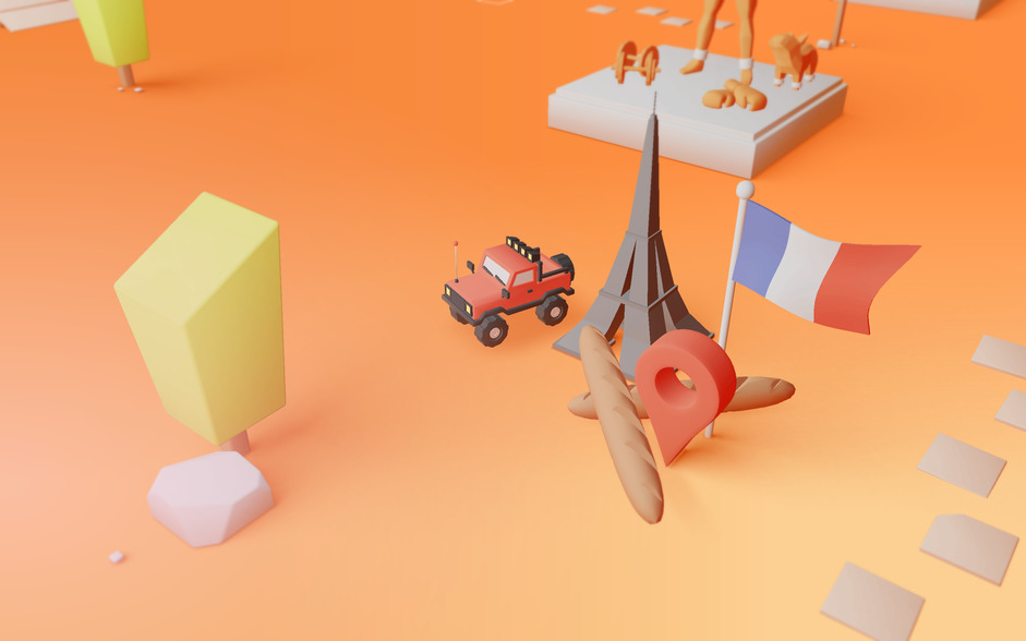 3D car on orange background