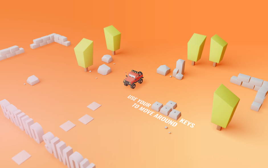 Intro page, toy car on orange background