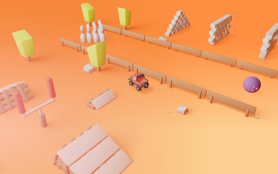 3D Car surrounded by a ramp, bowling pins and various obstacles