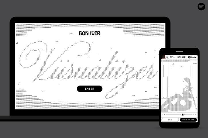Bon Iver Desktop and Mobile Main Pag