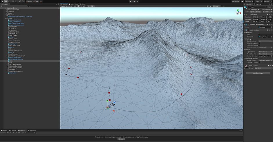 Image 9 - Scene in Unity showing the path of the rescue mission.