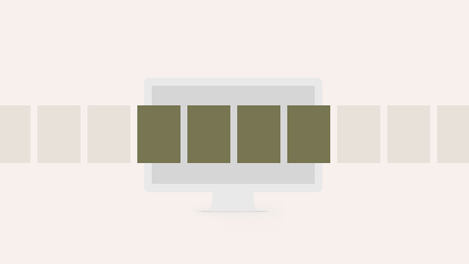 Illustration of a computer screen with dark boxes in front of it