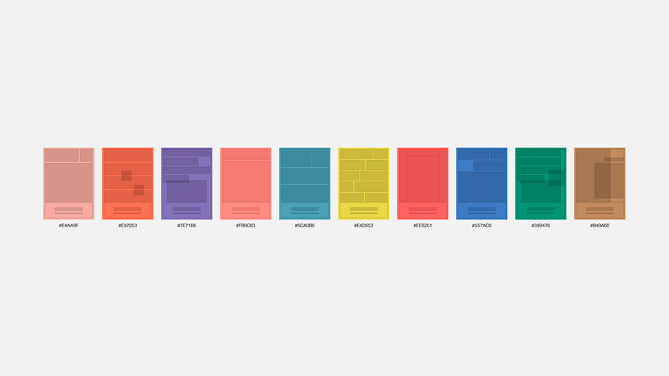 White background with color elements to represent all the layouts of the pages