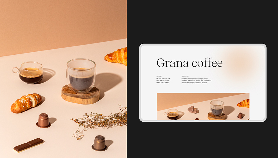 On the left a visual composition with coffee cups, chocolate, croissant. On the right the Home page for Grana Coffee