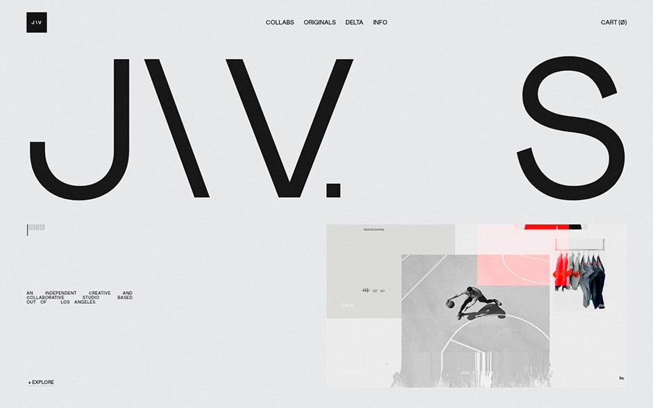 Homepage of John Way Studio: logo, navigation menu and a text description.